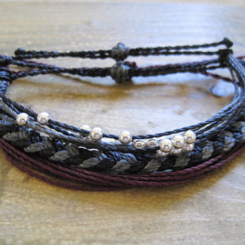 Midnight Grey Set of Waxed Polyester Bracelets
