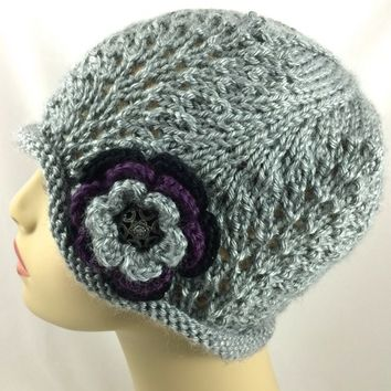 Ladies Hat Handknit Gray Heather Black Metal Button Caron Simply Soft