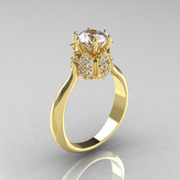 14K Yellow Gold Diamond 1.0 Carat Cubic Zirconia Tulip Solitaire Engagement Ring NN119-14KYGDCZ