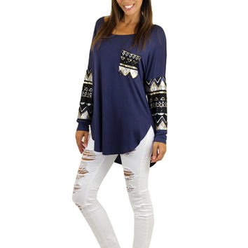 Navy Sequin Top With Pocket
