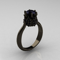 14K Black Gold 1.0 Carat Black Diamond Tulip Solitaire Engagement Ring NN119-14KBGBD