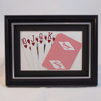 """Flamingo Las Vegas 5x7 """"Flush?"""" Hearts Authentic Playing Card Display Matted FRAMED NF1220"""