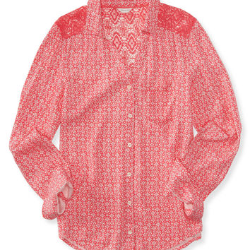 Aeropostale  Long Sleeve Country Floral Crochet Yoke Woven Shirt