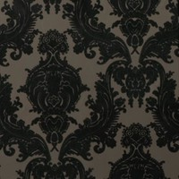 damask flocked wallpaper - coco + black : brocade home