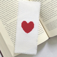 Valentine's day gift Red heart bookmark Cross stitch bookmark Fabric bookmark Embroidery bookmark Large bookmark Free shipping to everywhere