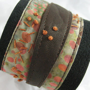 Fabric and Leather Wrist Cuff
