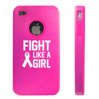Hot Pink Apple iPhone 4 4S 4G Aluminum hard case D5272 Fight Like A Girl