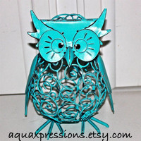 Whimsy Hoot Owl Figure/ Aqua Blue/ Hand Painted/ Distressed Up Cycled Room Furnishing /Patio Decor