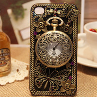 Custom Unique iPhone case iPhone 4 case iPhone 4s case iPhone 5 Case iPhone 3 Case antique Brass clock decorate iPhone cover