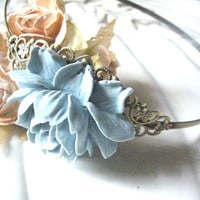 Vintage Blue Flower Headband by ninexmuse on Etsy