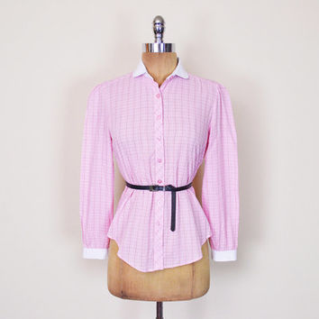 Vintage 80s Pink Plaid Blouse Top Plaid Shirt Penny Collar Shirt Button Up Shirt Button Down Shirt Secretary Blouse Preppy Women S Small
