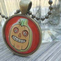 Pumpkin, Funny Jack-o-Lantern, Metal Pendant Necklace