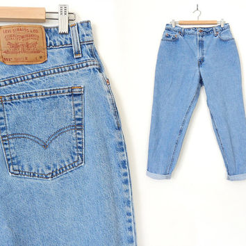 Vintage 90s Levis 551 Jeans Size 16 - High Waisted Relaxed Fit Stone Washed Light Rinse Tapered Leg Women's Plus Size Levi's Jeans