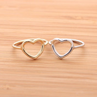 OPEN HEART RING, in sterling silver(gold,silver) | girlsluv.it - handmade jewelry collection, ETSY, Artfire, Zibbet, Earrings, Necklace