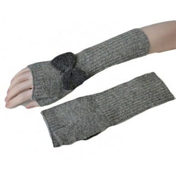 Bow Knit Long Mittens- Grey - One