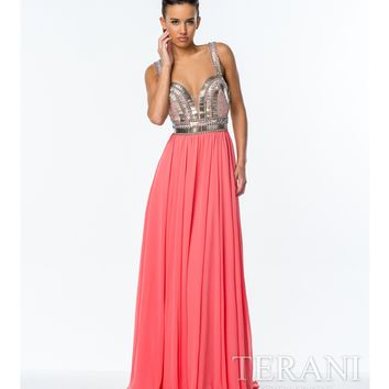 Terani Coral Embroidered Bodice Gown Prom 2015