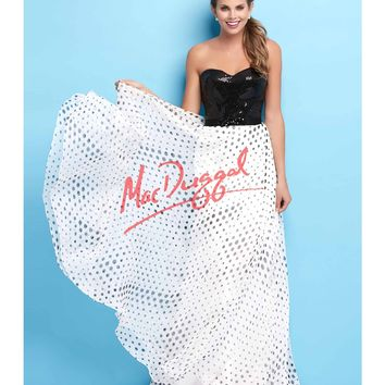 Mac Duggal Flash Fun Strapless Polka Dot Flowing Gown Prom 2015