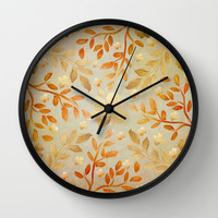 Golden Autumn Wall Clock by Lisa Argyropoulos