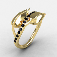 10K Yellow Gold Black Diamond Leaf and Vine Wedding Ring, Engagement Ring NN113-10KYGBD