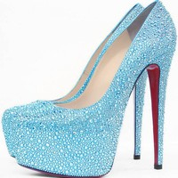 Christian Louboutins Daffodile 160mm Light Blue Strass Pumps