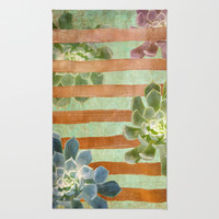 Copper Stripes and Succulents Rug by Lisa Argyropoulos