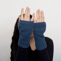 the condyle wrist warmers / fingerless mittens in denim