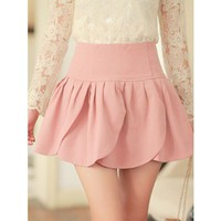Women Cotton Blends Pleated Floral High Waist Short Cute Pink Dress S/M/L @ MF5158p