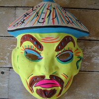 Vintage Chinese Fellow Mask Halloween Rare Find