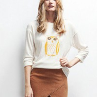 IVORY OWL PRINT TEE (P-14019)