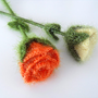 Crochet Roses, Set of 2 Orange And Yellow Roses, Home Decor, Green Leaves, Crochet Flowers,Floral Home