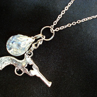Revolver & Crackle Glass Marble Charm Necklace