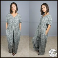 Vtg Jones New York Baggy Loose Fit Tie Back Floral Dress Jumpsuit S M