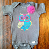 Unique Baby Girl Onesuit in Gray With Beautiful Owl Decal & Handmade Flower