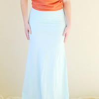 Flowy Maxi Skirt Hand Dyed in Stretch Knit Cotton - High Waist Maxi - Boho Maxi - Extra Long Maxi - Wear 2 Ways - Sizes XS, S, M, L, XL
