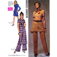 Vintage Sewing Pattern Button Front 70s Dress Tunic Pants Small Uncut
