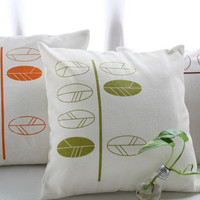 Set of 3 Cushion Covers with hand printed leaves - Special offer