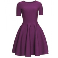 mytheresa.com -  Yves Saint Laurent - FLARED DRESS WITH PUCKERED TRIM - Luxury Fashion for Women / Designer clothing, shoes, bags