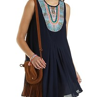 Embroidered Bib Trapeze Dress by Charlotte Russe - Navy Combo