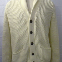 Amazing Vintage 70s CREME BUTTON Grandpa Retro Men Women Medium Acrylic Hip Stylish SWEATER