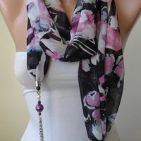 New Trend - Scarf Necklace - Jewelry Scarf - Pink and Black Chiffon Fabric - with Beads and Chain - Trendy - Fashion