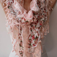 New Trend - Salmon Ruffle Scarf - Light Salmon Lace and Cotton Scarf