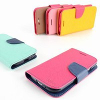Mercury Fancy Diary / Wallet Leather Case for Samsung Galaxy S3 GT-i9300 (Fits Verizon, AT&amp;T, T-Mobile, Sprint) - Red / Blue