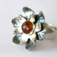Tourmaline and silver flower ring handmade jewelry design