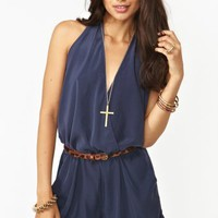 Shadow Wrap Romper - Navy