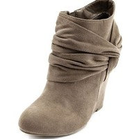 Sueded Side-Knot Wedge Bootie: Charlotte Russe