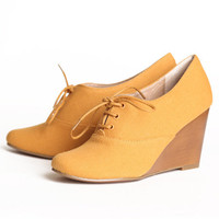Chelsea Crew Sari oxford wedges in mustard - &amp;#36;64.99 : ShopRuche.com, Vintage Inspired Clothing, Affordable Clothes, Eco friendly Fashion