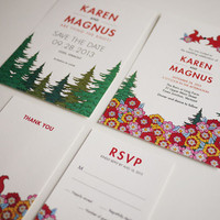 Woodland Modern Wedding Invitation .. on Luulla