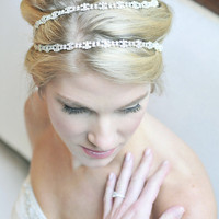 Rhinestone hair wrap | Tessa Kim bridal headpieces veils