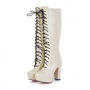 Lace Up Chunky Heel Long Boots