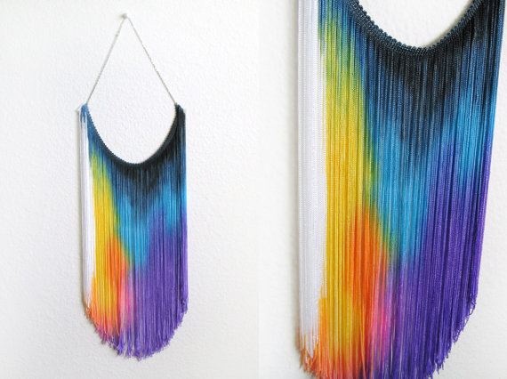 Splash Dyed HAND PAINTED Fringe Bib Yoke Collar Necklace in Spectrum Rainbow